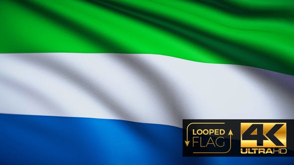 Thumbnail for Flag 4K Sierra Leone On Realistic Looping Animation With Highly Detailed Fabric