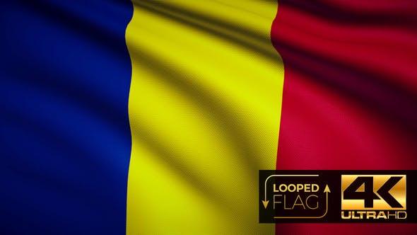 Thumbnail for Flagge 4K Rumänien auf realistische Looping-Animation mit sehr detailliertem Stoff