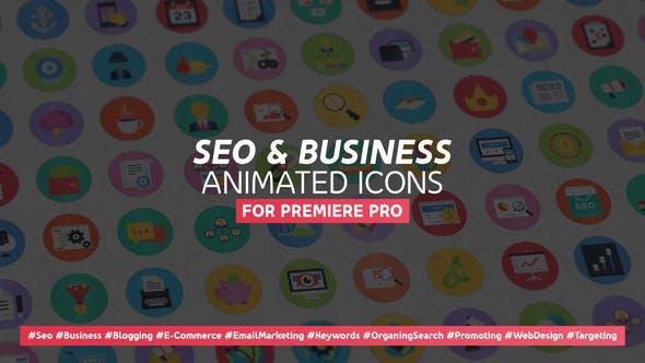100 Seo & Business Modern Flat Animated Icons - Mogrt