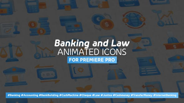 Thumbnail for Banking and Law Modern Animated Icons - Mogrt