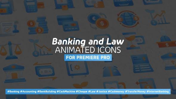 Thumbnail for Banque et droit moderne Icones animées - Mogrt