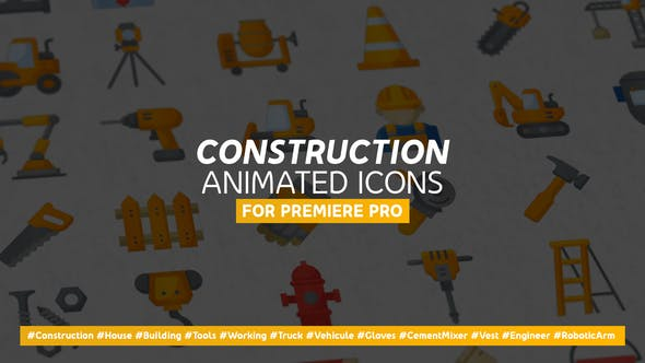 Thumbnail for Construction & Peinture Moderne Plat Icones nes Animées - Mogrt