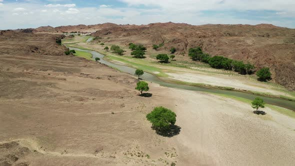 Thumbnail for Aerial Landscape View of River in Gobi Desert, Mongolia.