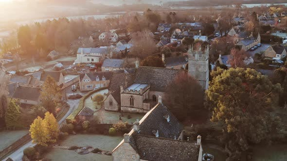 Aerial drone video of Typical English village and beautiful British countryside scenery