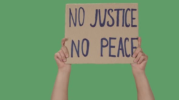 Thumbnail for Protesting Poster with Inscription NO JUSTICE NO PEACE. Background To Illustrate the Movement for