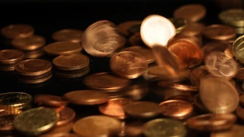 Euro Coins Falling Slow Motion