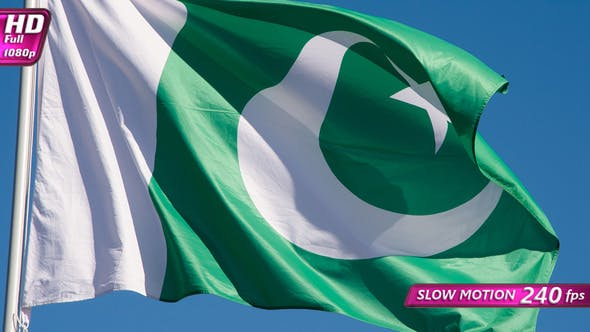Pakistani Flag Is Flying In The Wind On A Sunny Day