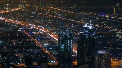 Dubai Night Skyline Traffic Time-lapse