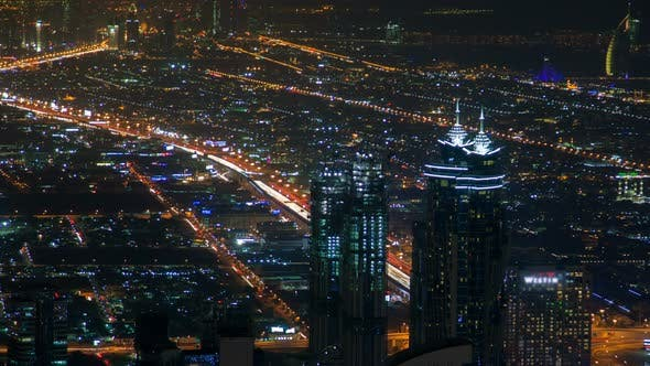 Thumbnail for Dubai Night Skyline Traffic Time-lapse
