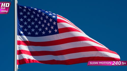 Usa Flag Flaping In Wind