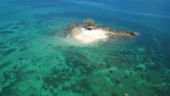Aerial View Small Tropical Island Atoll Beautiful Sandy Beach Surrounded By Coral Reef