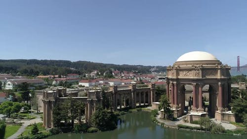 Aerial view of the Palace of Fine Arts