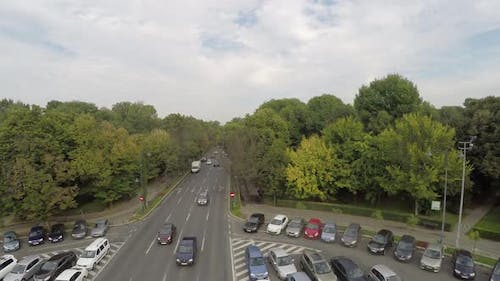 Aerial view of a boulevard