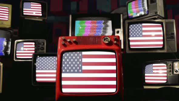 American Flag and Vintage Televisions.