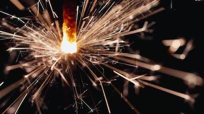 Closeup of the Burning Sparkler