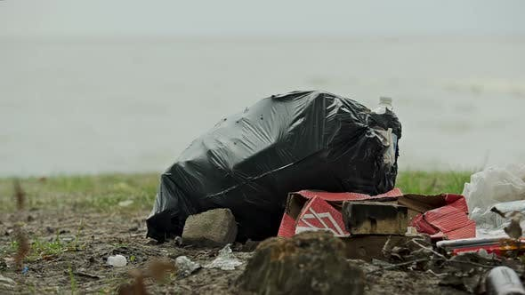 Thumbnail for Huge Plastic Bags of Rubbish on Shore People Neglecting Environmental Dangers