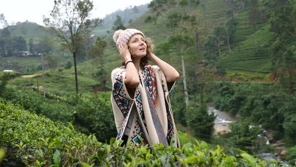 Thumbnail for Happy Woman Traveler In Green Mountains