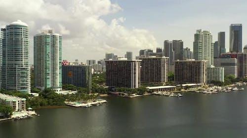 Aerial Miami Real Estate Brickell Bay Waterfront Condos