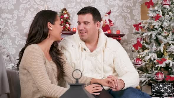 Thumbnail for Gorgeous Caucasian Couple Spending Time Together in Christmas Eve