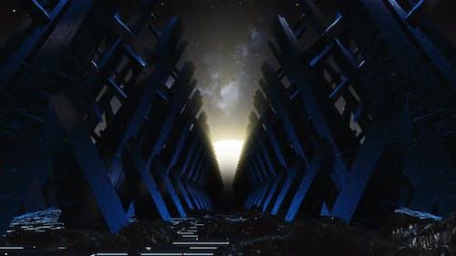 Flying On The Mountain In Sci Fi Meteorites 01 4K