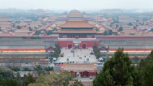 Beijing Forbidden City sunset panorama timelapse