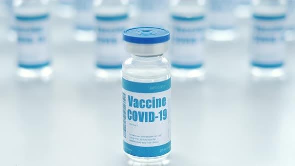 Covid 19 Vaccine Vial Bottle Corona Virus Cure Manufacture Concept