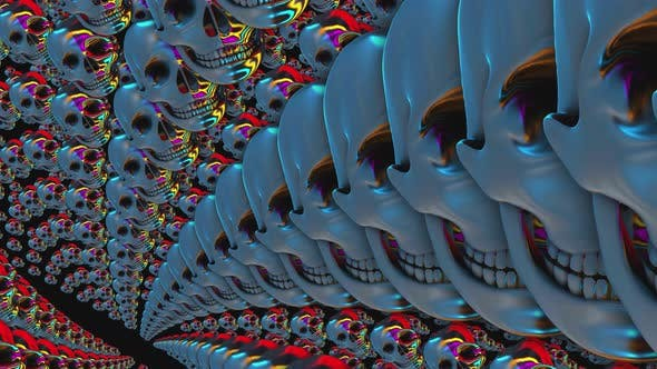 4K metal skulls in a twirl