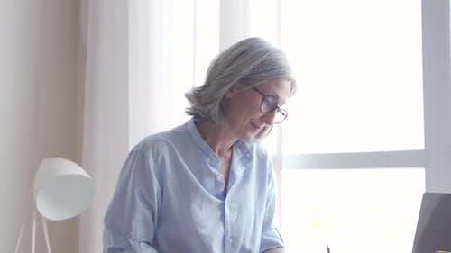 Senior Older Elegant Woman Fashion Designer Drawing Creative Sketches