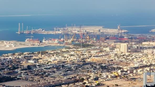 Thumbnail for Dubai Dry Docks Shipyard Cityscape Timelapse