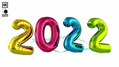 Happy New Year 2022 Colorful Floating Balloons