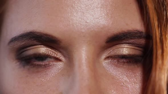 Thumbnail for Close Up Shot of the Eyes of a Woman Who Are Painted with Mascara and Shadows
