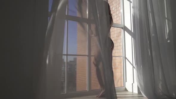 Thumbnail for Young Sexy Naked Woman with Long Brown Hair Posing Near Window From Floor-to-ceiling Through Tulle
