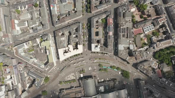 Thumbnail for AERIAL: High Overhead Top Down Birds View Shot of Frankfurt Am Main, Germany in Summer, City Streets