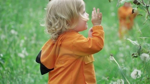 Portrait of Little Joyful Boy Playing in Nature, Slow Motion
