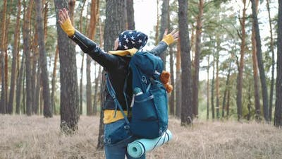 Happy Tourist with Backpack on Forest Pine Trees