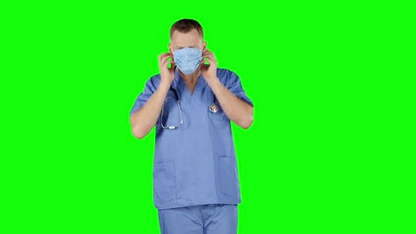 Thumbnail for Doctor Puts a Medical Bandage on Face. Green Screen
