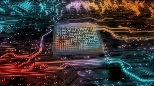 Visualization of the Printed Circuit Board of the CPU Processor and the Processing of Data Bits