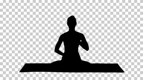 Silhouette Yogi girl, Alpha Channel