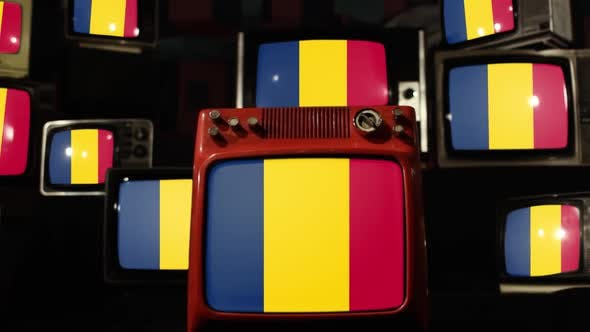 Flag of Chad and Retro TVs.