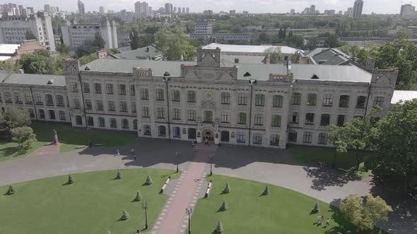 Thumbnail for Architecture of Kyiv. Ukraine. Kyiv Polytechnic Institute. Aerial View. Slow Motion, Gray, Flat
