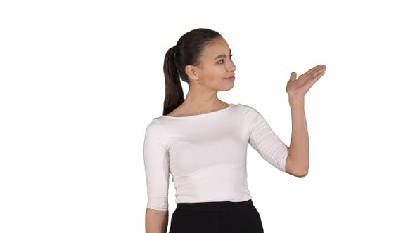 Thumbnail for Business woman presenter talking and showing product or