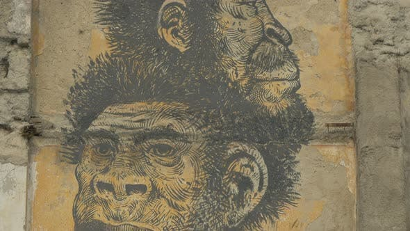 A wall painting with monkeys