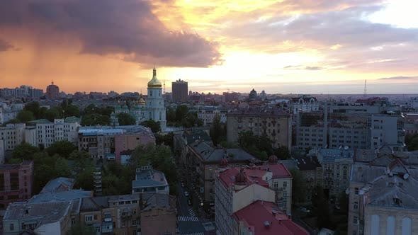 Dramatic Red Sunset in Kiev. Saint Sophia Cathedral and Square in Famous Historical District. Aerial