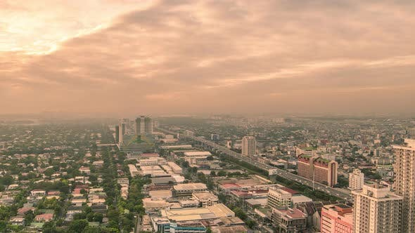 Thumbnail for View From Above on the Residential Area of the Manila City at Early Morning