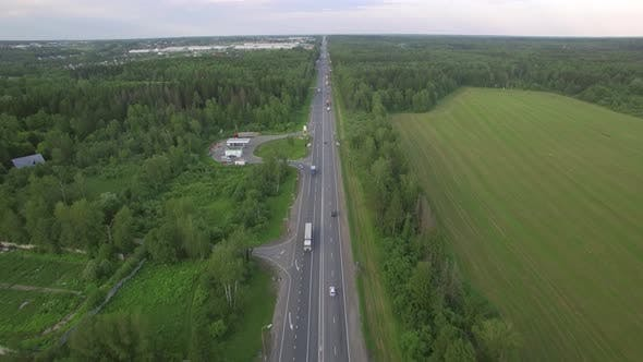 Thumbnail for Flying Over the Road in the Countryside, Russia
