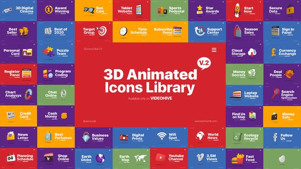 Thumbnail for 3D Animated Icons Library