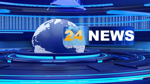 24 news opener with looped background