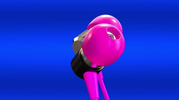 Pink Headphones On A Blue Background