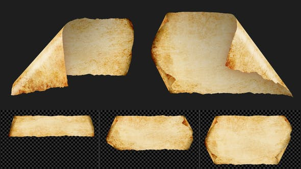 Ancient Old Parchment Paper Flutter on Transparent Background