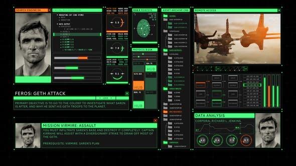 Écran d'interface utilisateur rétro HUD